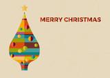 Merry Christmas postcard, tree flat, design in retro style