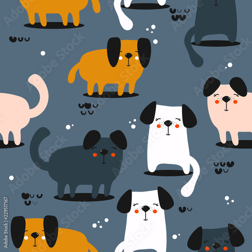 fototapeta na ścianę Happy dogs, hand drawn backdrop. Colorful seamless pattern with animals. Decorative cute wallpaper, good for printing. Overlapping background vector. Design illustration