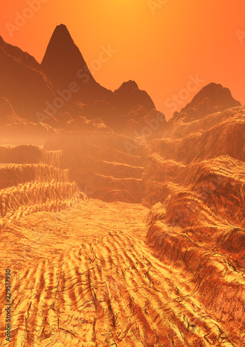 3D Rendering Planet Mars Lanscape - 229517930