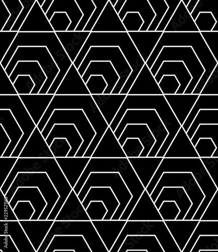Seamless hexagons pattern. Black geometric background. - 229521163