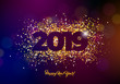 2019 Happy New Year illustration with shiny sparkling number on dark background. Holiday design for flyer, greeting card, banner, celebration poster, party invitation or calendar.