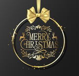 Merry Christmas greeing card with beautiful golden satin bow. - 229526398