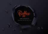Black poster with coffee beans. Advertising or label template.