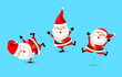 Collection of cute cartoon Santa Claus. Merry Christmas and Happy New Year. Illustration isolated on blue background.
