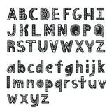 Decorative alphabet in Scandinavian style, hygge font. Vector illustration - 229536924