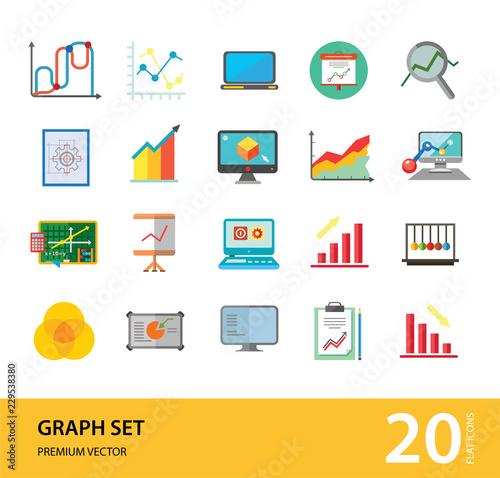 Awe Inspiring Graph Icon Set Magnifier And Graph Growing Bar Chart Declining Bar Wiring Digital Resources Jonipongeslowmaporg