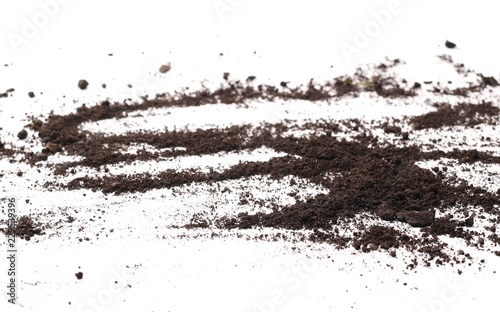Leinwandbild Motiv Soil, dirt pile isolated on white background