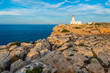 Sunset in Cavalleria Lighthouse on Minorca Island northern shore, Balearic Islands, Spain.