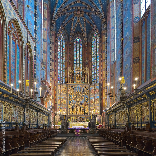 Krakow, Poland. Chancel and apse of St. Mary's Basilica with Veit Stoss altarpiece. The altarpiece was carved between 1477 and 1484 by the German sculptor Veit Stoss (known in Polish as Wit Stwosz).