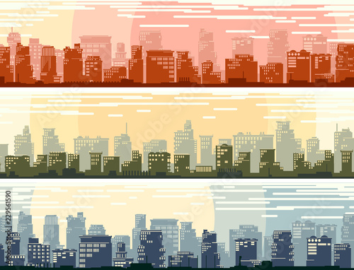 Poster Horizontal banners of big cartoon city.