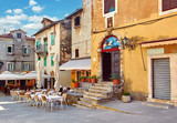 Lovran, Croatia. Central area of ancient old town with vintage