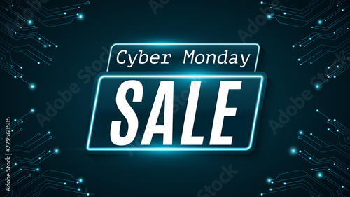 Cyber Monday. Super sale. Hi-tech glowing blue circuit board. Web neon banner. Modern design. Vector illustration