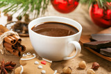 Hot chocolat with gingerbreade, Christmas traditional drink - 229575193