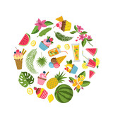 Vector flat cute summer elements, cocktails, flamingo, palm leaves in circle shape illustration
