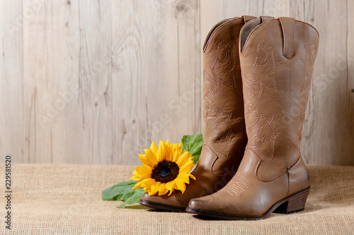 e208c311e9d A pair of woman s brown cowboy boots with a bright yellow sunflower on  acanvass with wooden