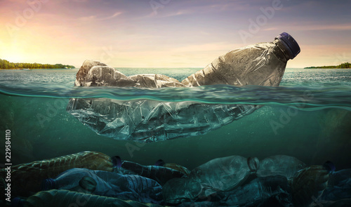 Plastic water bottles pollution in ocean (Environment concept) © chaiyapruek