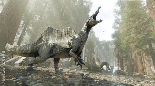 A 3D rendering of two Spinosaurus looking for food in a shallow river.