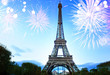 famouse eiffel Tower and light blue night with fireworks, France