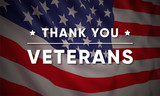 Vector banner design template for Veterans Day with realistic american flag and text: Thank you Veterans. - 229591304