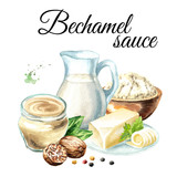 Bechamel sauce ingredients composition. Watercolor hand drawn illustration, isolated on white background - 229599969