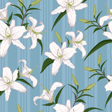 White lilies on blue striped background. Seamless pattern.