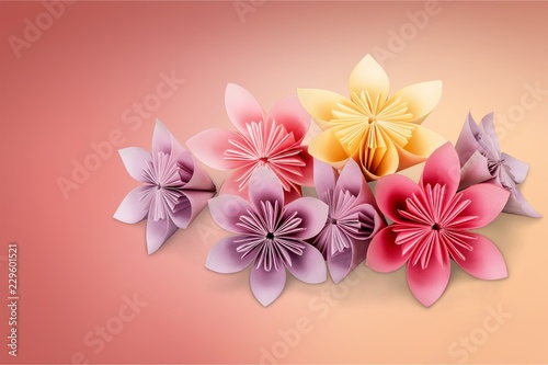Origami Flowers On White Background Buy Photos Ap Images