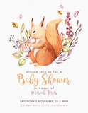 Cute baby animal nursery isolated illustration for children. Watercolor boho forest drawing squirrel forest image Perfect for nursery posters, patterns - 229602386