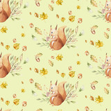 Watercolor Cute baby cartoon rabbit, mouse and bear animal seamless pattern, squirrel nursery isolated illustration for children clothing. hedgehog bunny Hand drawn nursery poster, postcard - 229603341