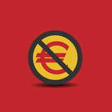 Euro icon with not allowed sign - 229612183