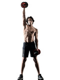 one caucasian man fitness weitghs training exercises  studio in silhouette isolated on white background - 229615764