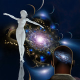 Graceful woman statue in space - 229617538