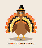 vector card for thanksgiving day with cartoon turkey