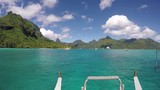 View from the front of a boat arriving in Opunohu Bay. Sunny day in French Polynesia Moorea - 229621345