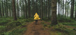 Leinwanddruck Bild - man in yellow rain jacket runs in the forest, fog, rain and mist