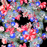 Hand painted merry christmas seamless pattern with watercolor Christmas tree, balls of blue colors, gifts and toys. - 229629536