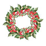 Watercolor Christmas wreath with leaves and berryes. Illustration for greeting cards and invitations.