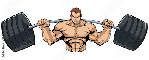 Wall mural Illustration of strong bodybuilder doing squats with barbell on white background.