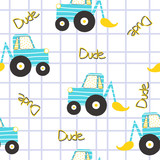 Excavator seamless pattern. Funny kids print. Vector hand drawn illustration. - 229632314