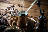 Black coffee on old background - 229646172