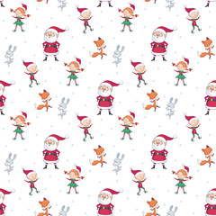 Christmas seamless pattern with Santa Claus cute animals and elves. Childhood vector background in cartoon style. © olga_a_belova
