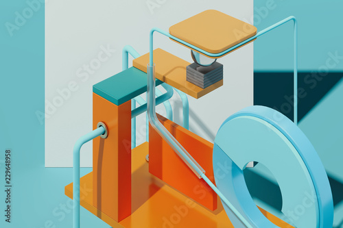 Multicolored geometric figures and objects on blue background. 3d rendering.