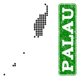 Dotted map of Palau Islands and rubber caption. Vector green title inside rounded rectangle and retro rubber texture. Pixelated map of Palau Islands constructed with black pattern of round dots.