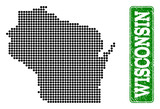 Dotted map of Wisconsin State and unclean caption. Vector green title inside rounded rectangle and grunge rubber texture. Pixelated map of Wisconsin State constructed with black pattern of round dots.
