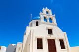 Dome of the Orthodox Church close up in town Oia. The island Santorini in Creece