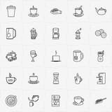 Coffee & Tea line icon set with cookies, mug of tea and coffee grinder - 229656738
