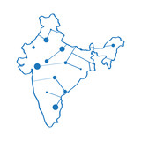 Isolated map of India. Vector illustration design