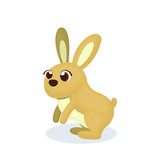 Illustration of Brown Rabbit Character with Cartoon Style