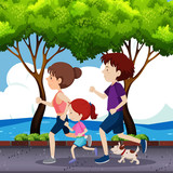 Family jogging on the road