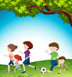 Family activity at the park