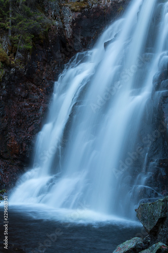 Beautiful waterfall photographed with long exposure - 229683751